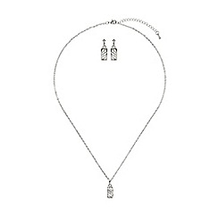 Mikey London - White curved net cubic pendant earring set