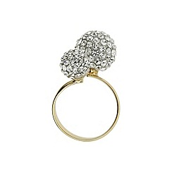 Mikey London - Gold band twin stone cluster ring