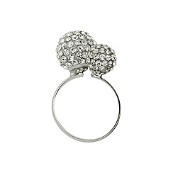 Mikey London - White band twin stone cluster ring