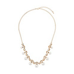 Mikey London - Twisted crystal rope pearl hanging necklace