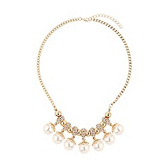 Mikey London - Crystal rings hanging pearls necklace