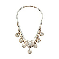 Mikey London - Pearl chain enamel multi disc  necklace