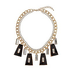 Mikey London - Enamel/crystal hanging linked necklace