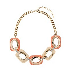 Mikey London - Enamel square crystal links necklace