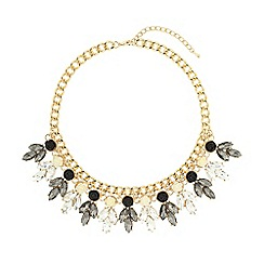 Mikey London - Black crystal enamel flowers linked choker