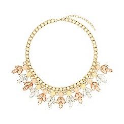 Mikey London - Pink crystal enamel flowers linked choker
