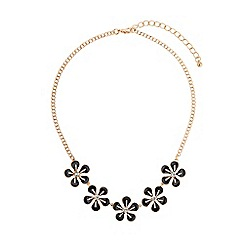 Mikey London - Black enamel daisy flower crystal choker