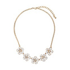 Mikey London - White enamel daisy flower crystal choker
