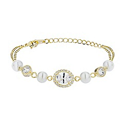 Mikey London - Gold oblong cubic stone pearl linked bracelet