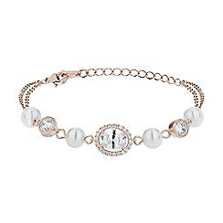 Mikey London - Rose gold oblong cubic stone pearl linked bracelet
