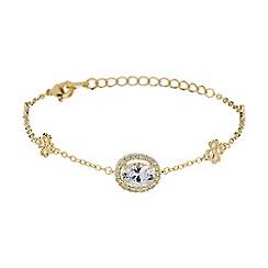 Mikey London - Gold oblong cubic stone filigree bracelet