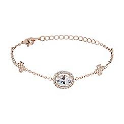 Mikey London - Rose gold oblong cubic stone filigree bracelet