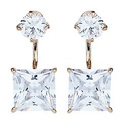 Mikey London - Gold square cubic cuff drop earring