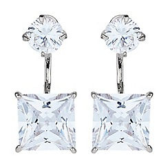 Mikey London - White square cubic cuff drop earring