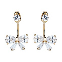 Mikey London - Gold bow cubic cuff drop earring