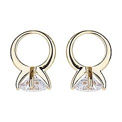 Mikey London - Gold sun design hanging cubic earring