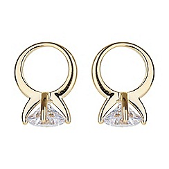 Mikey London - Gold solitaire ring stud earring
