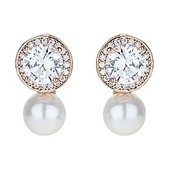 Mikey London - Rose gold round cubic stud pearl drop earring