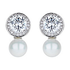 Mikey London - White round cubic stud pearl drop earring