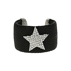 Mikey London - Black star on leather cuff