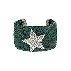 Mikey London - Green star on leather cuff