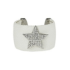 Mikey London - White star on leather cuff
