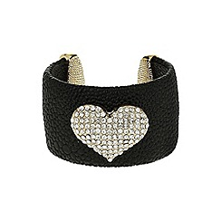 Mikey London - Black heart on leather cuff