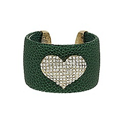 Mikey London - Green heart on leather cuff