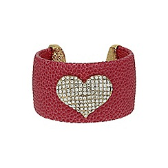 Mikey London - Pink heart on leather cuff