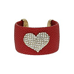 Mikey London - Red heart on leather cuff