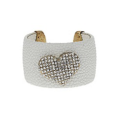 Mikey London - White heart on leather cuff