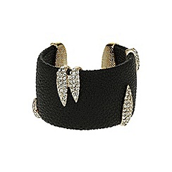 Mikey London - Black crystal clip on leather cuff
