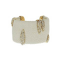 Mikey London - White crystal clip on leather cuff