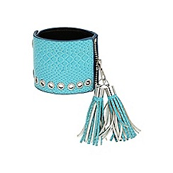 Mikey London - Blue leather cuff with tassles