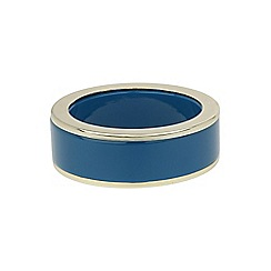Mikey London - Blue enamel round bangle with gold edges