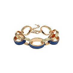 Mikey London - Blue leather metal rings bracelet