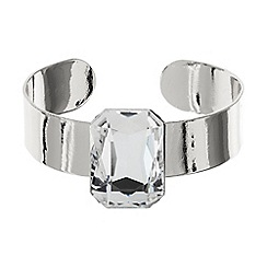 Mikey London - Rectangle stone on a metal cuff bracelet