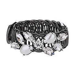 Mikey London - Crystal flower pearl ring cuff bracelet