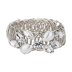 Mikey London - Crystal flower pearl ring cuff bracelet