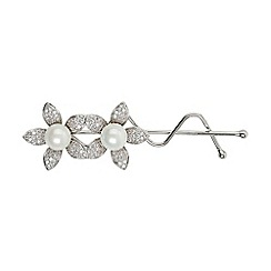 Mikey London - White twin flower marquise cubic hair slide