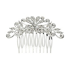Mikey London - White cubic multi flowers spread hair comb