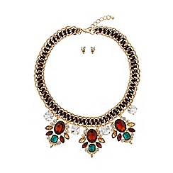 Mikey London - Filigree crystal pendant rope metal necklace