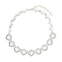 Mikey London - White oval rect crystal pearl centre necklace