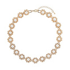 Mikey London - Gold daisy flower pearl linked necklace