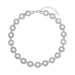 Mikey London - White daisy flower pearl linked necklace