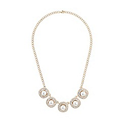 Mikey London - Gold square raised pearl crystal linked neckl