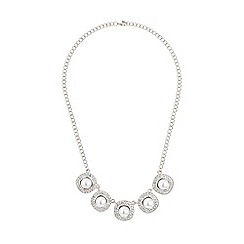 Mikey London - White square raised pearl crystal linked neckl