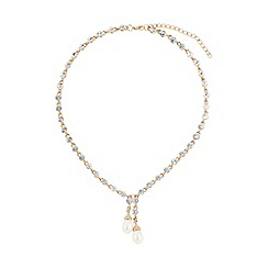 Mikey London - Gold rnd crystals linked pearl drop necklace
