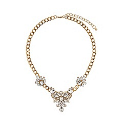 Mikey London - Flower crystal pendant flat chain necklace