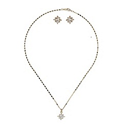 Mikey London - Gold daisy flower crystal set